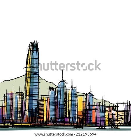 Office building at Hong Kong : sketchbook  - stock photo