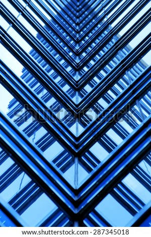 Office building close up with blue tone - stock photo