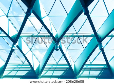 office building detail with triangle window - stock photo