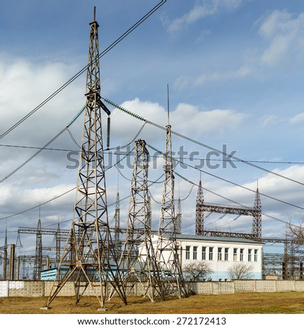 office building electricity power plant  and pylons