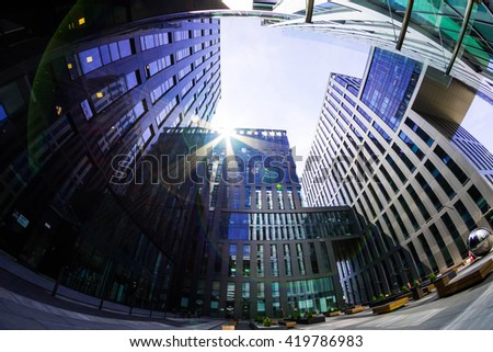 office building fisheye
