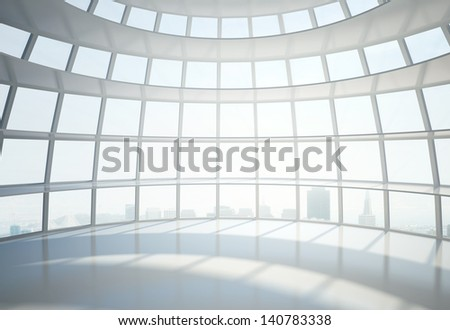 office building hall and city in window - stock photo
