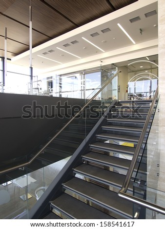 Office building hall and stairs interior
