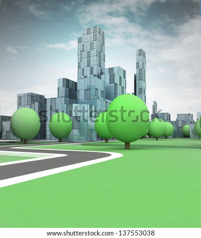 office building in city with trees with blue sky illustration