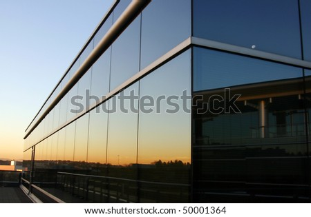 Office building in sunset.