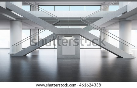 Office building interior. Crossed staircases in x form. Big windows in background. Concept of different ways to goal. Large vertical poster in middle. 3d rendering. Mock up.
