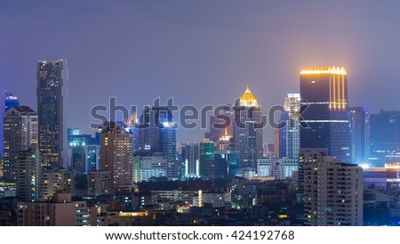 Office building night view - stock photo