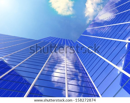 Office building on a background of blue sky