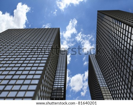 Office building on a blue cloudy sky background - stock photo