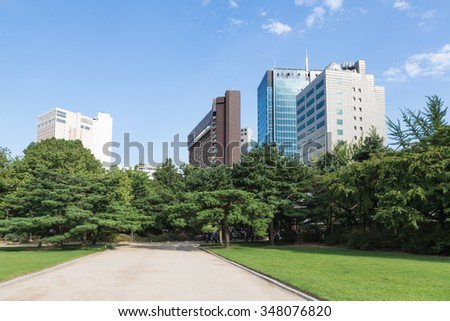 Office building viewed from a public park in Seoul in South Korea capital city.