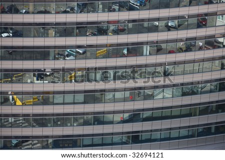 Office building wall , a ray of light is coming through the windows - stock photo