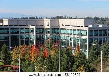 Office Building with Autumn Foliage in Bellevue Washington - stock photo