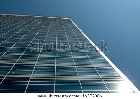 office building with clear blue sky background