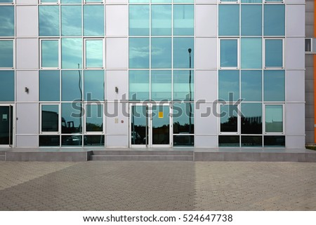 Office Building With Green Glass Facade