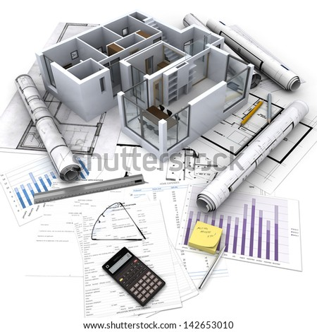 Office building with open interior on top of blueprints, documents and mortgage calculations - stock photo