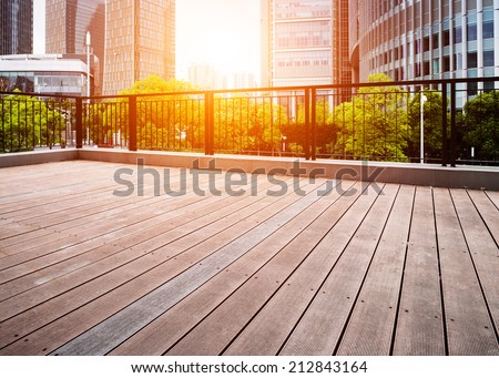 Office buildings and wooden platforms at shanghai,china