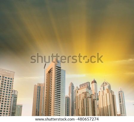 Office buildings at sunset. Business concept.