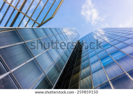 office buildings.  glass silhouettes.  Skyscrapers - stock photo