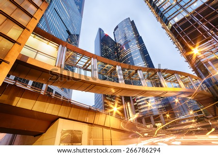 Office buildings in central Hong Kong at night.  - stock photo