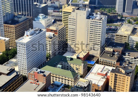 Office buildings in Downtown Atlanta, Georgia, USA - stock photo