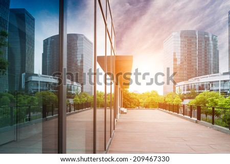 office buildings in modern shanghai - stock photo