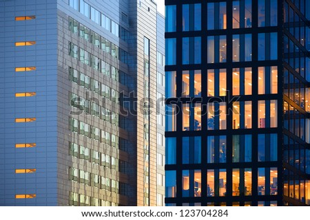 Office buildings in sunset