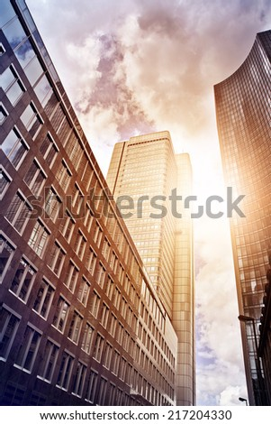 office buildings in the evening sun, Frankfurt am Main, Germany - stock photo