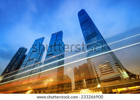 Office buildings (International Commerce Centre) at night in Hong Kong, China.