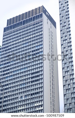 O Office Buildings With Glass Facades In Low Angle View