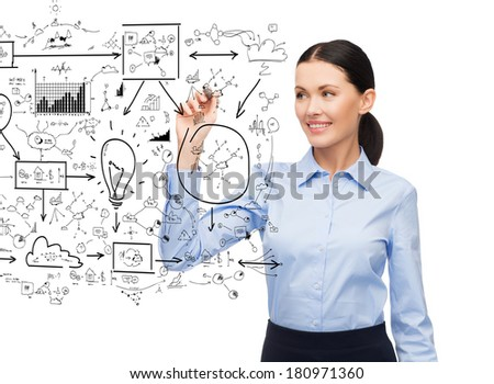 office, business and new technology concept - businesswoman writing plan in the air with marker