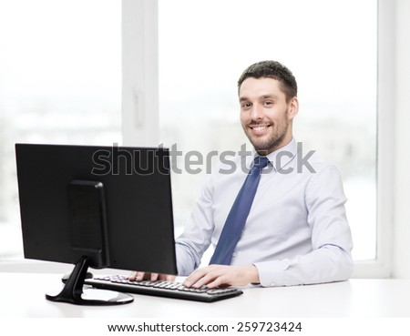 office, business, education, technology and internet concept - smiling businessman or student with computer - stock photo