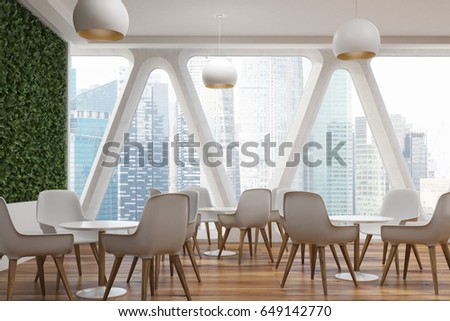 Office Cafe Interior Large Grass Wall Stock Illustration 649142770 ...