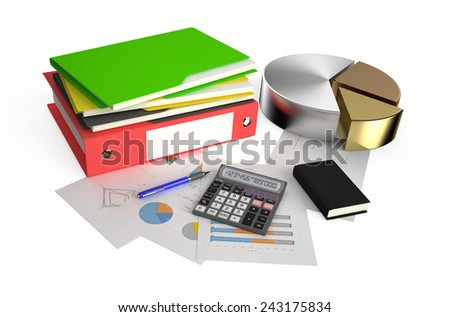 Office calculator, metallic pie charts, notepad, folder and pen on financial reports isolated on white background