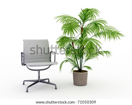 office chair and a flower - stock photo