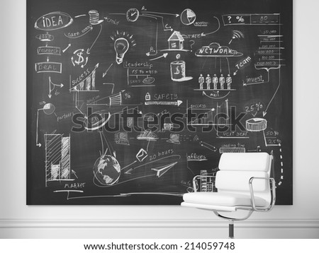 Office chair and chalkboard with business strategy on a wall - stock photo