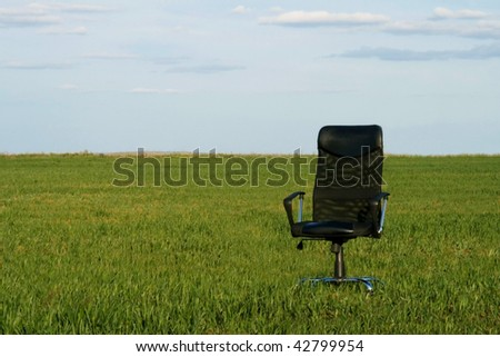 Office chair on a green grass