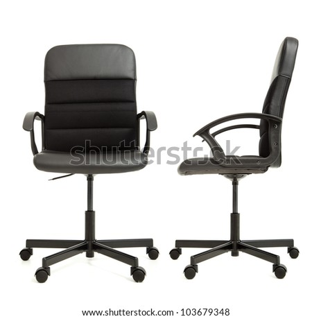 office chair on the white background front and side view - stock photo