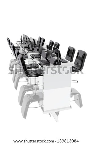 Office chair, tables and computers - stock photo