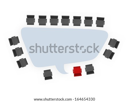 Office chairs around speech bubble table and standing out concept, isolated on white background. - stock photo