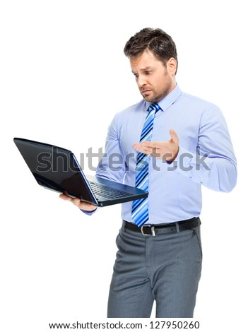 Office clerk with notebook on white background