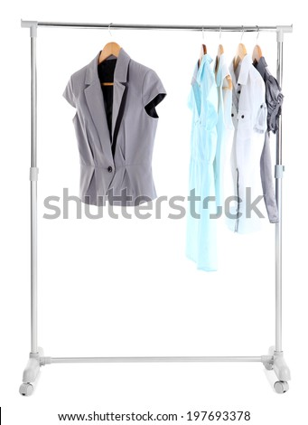 Office clothes on hangers, isolated on white - stock photo