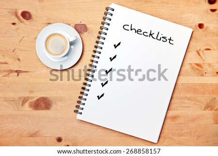 office - coffee - writing pad - checklist