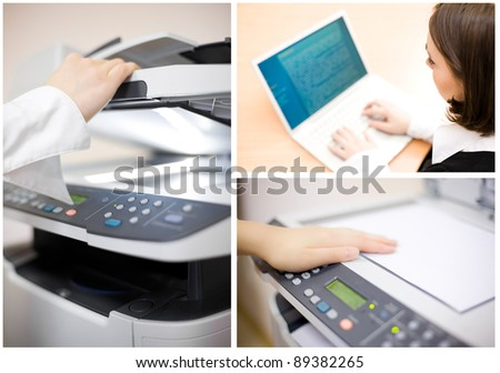 Office collage made of four images - stock photo