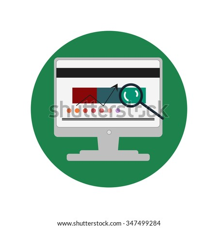 Office Computer Icon in flat design - stock photo
