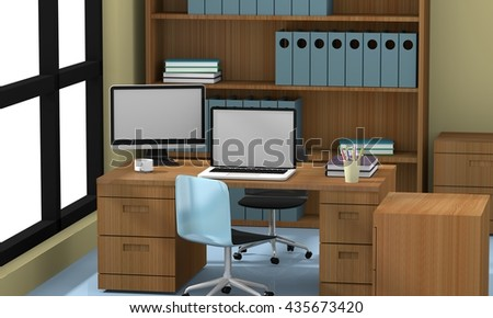 office concept 3D rendering