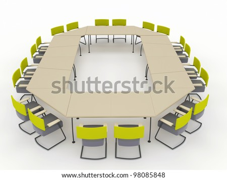 office conference desk with chairs. isolated on a white background - stock photo