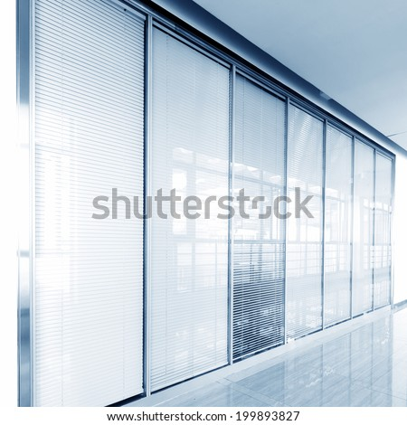 Office corridor glass sliding doors