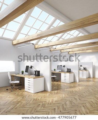Office Cubicles In Attic Room With Desktops, Tables And Folders. Concept Of  Accounting Company