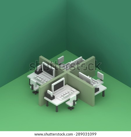 office cubicles with desks and computers isometric 3d scene render
