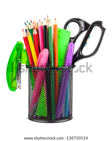 Office cup with scissors, pencils and pens isolated on white background - stock photo